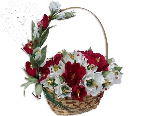 Красные и белые цветы от Grand-Flora.ru