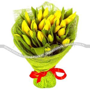 Красивая сказка - букет из желтых тюльпанов