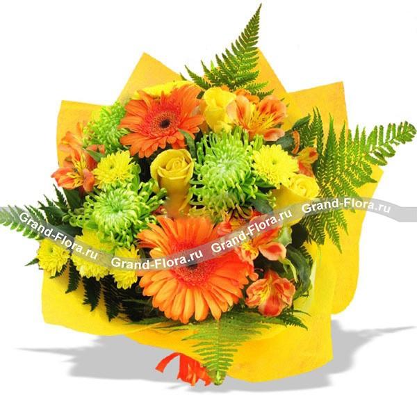 Букет ярких красок из гербер, роз и хризантем