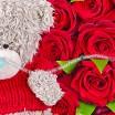 Букет красных роз + плюшевый медведь