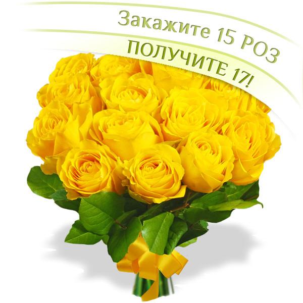 17 желтых роз - букет из 17 желтых роз