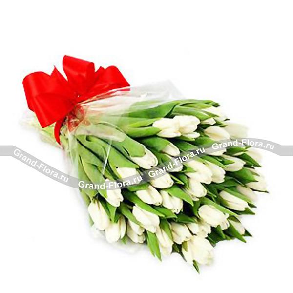 Вся моя нежность - букет из белых тюльпанов от Grand-Flora.ru