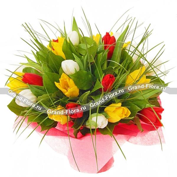 Сюзанна - букет из разноцветных тюльпанов