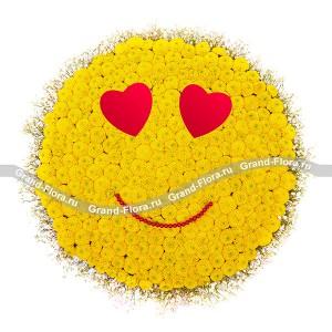 День Валентина - композиция из кустовых ромашковых хризантем