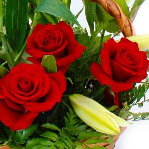 Букет красных роз в корзине - Добрая сказкаПрелестная корзинка ярко-красных роз в нежном обрамлении белых лилий напоминает красивую историю любви , которая под покровом Вашей заботы останется неизменно романтичной и взаимной. Только в Ваших руках возможность подарить эти чувства любимой!...<br>