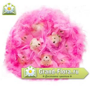 Мишки в розовых перьяхОчень нежный букетик с мишками в розовых перьях! (9 шт.)...<br>