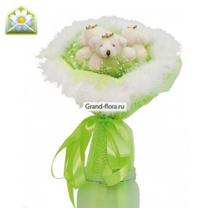 Три МишкиТри плюшевых очаровательных мишки. Нежно-зеленое оформление - сказочный букет! (3 шт.)<br>...<br>