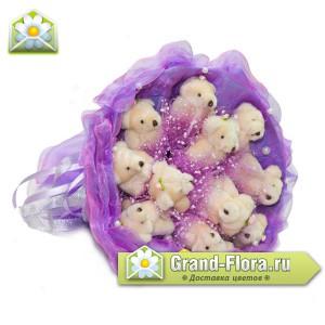 Фиолетовые мишкиОчень красивый букетик с девятью мишками! (9 шт.)...<br>