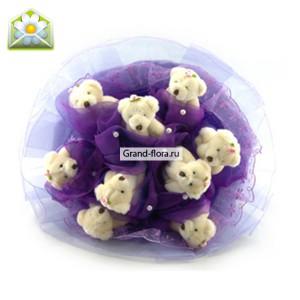 Фиолетовые Мишки на подставкеЗамечательный фиолетовый букетик с мишками. (9 шт.)...<br>