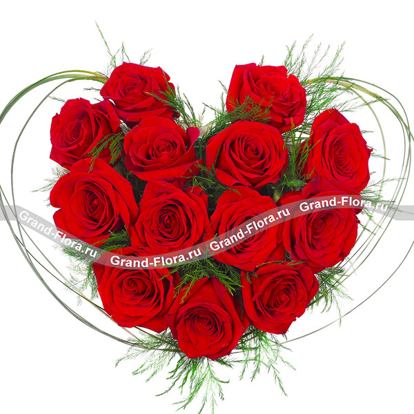 Монобукет из красных роз - История любви от Grand-Flora.ru