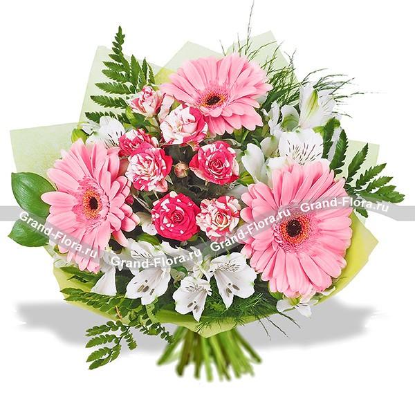 Букет из нежно-розовых гербер и пестрых роз