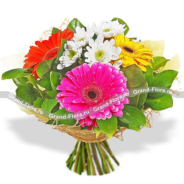 Новинки Гранд Флора Энергия лета - букет из разноцветных гербер и хризантемы фото