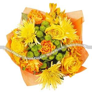 Букет оранжевых роз + хризантемы - Осенний коктейльСамые волшебные дизайнерские задумки воплотились в этом букете. Контрастная гармония сочного и теплого оранжевого цветов удачно дополнена свежестью зеленого оттенка. Такой букет понравится солнечным натурам, особенно тем, кто родился летом или ...<br>