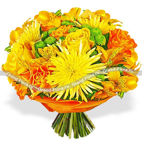 Букет оранжевых роз + хризантемы - Осенний коктейль
