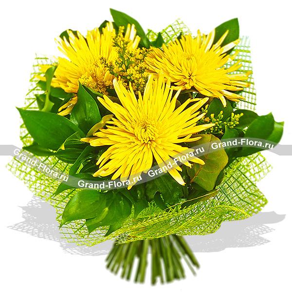 Летний ветер - букет из хризантем и декоративной зелени