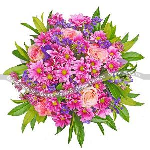 Лиловое сияние - из кустовой хризантемы и роз...<br>