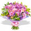 Смешаный букет в фиолетовой гамме из роз и хризантем