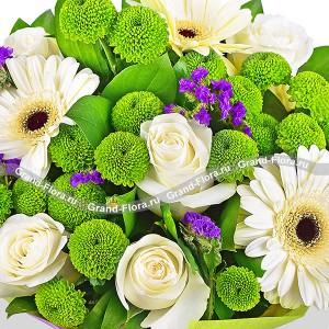 Черничный пломбир - букет из гербер и кустовых хризантем...<br>
