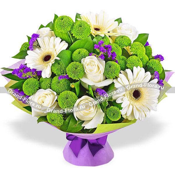 Черничный пломбир - букет из гербер и кустовых хризантем от Grand-Flora.ru