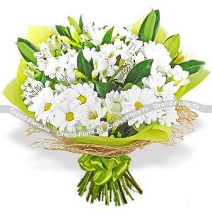 Летнее поле - букет из хризантемы и альстромерии...<br>
