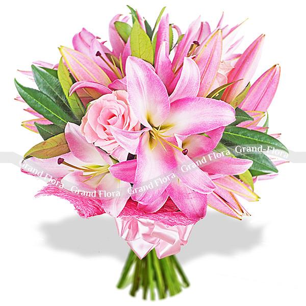 Букет роз и лилии - Розовая глазурь