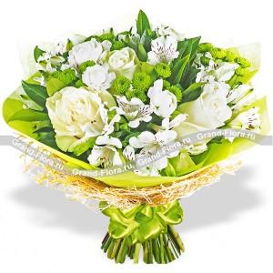 Белые розы с эустомами - Летний каприз...<br>