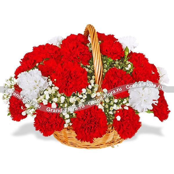 Белые и красные гвоздики в корзине