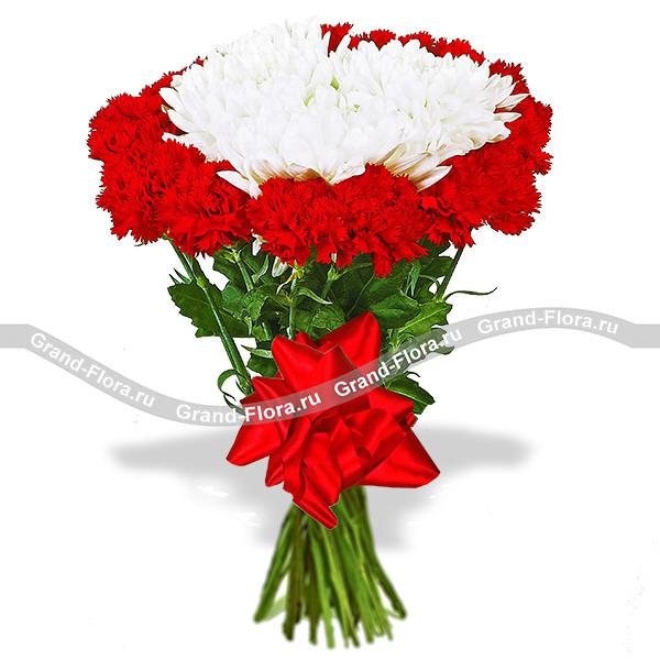 Мужской праздник - букет из красных гвоздик и белых хризантем