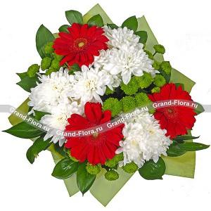 Сан-Тропе - букет из гербер  и хризантем