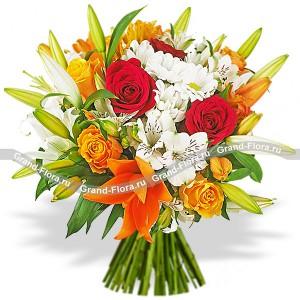 Букет из лилии и жёлтых роз - Краски заката...<br>