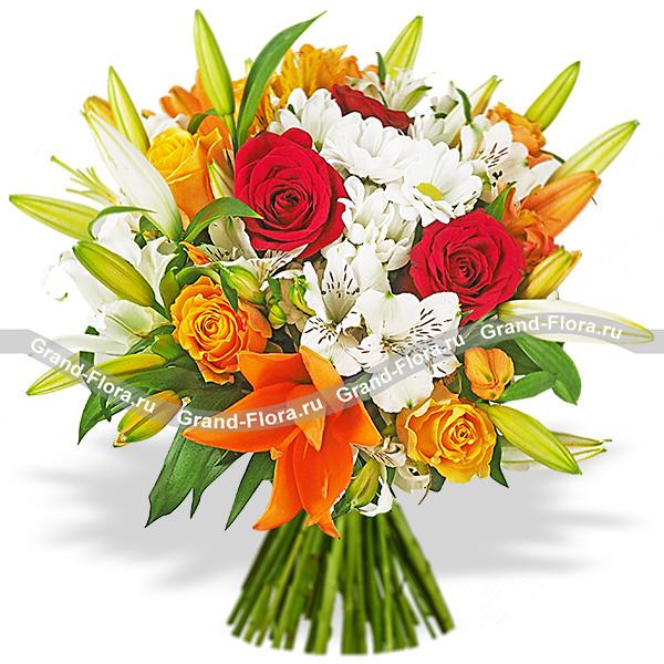 Букет из лилии и жёлтых роз - Краски заката