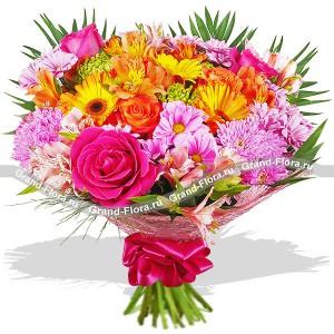 VIP-букет из розовых роз - Буйство красок...<br>