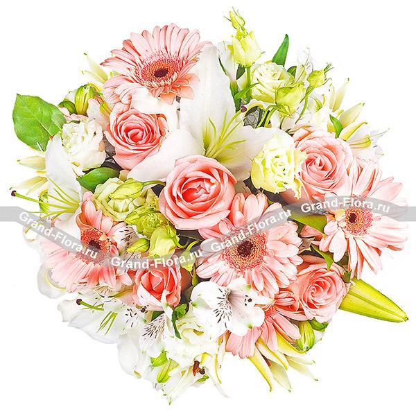 VIP букеты Гранд Флора Виртуальная любовь- вип букет с белыми лилиями и розами фото