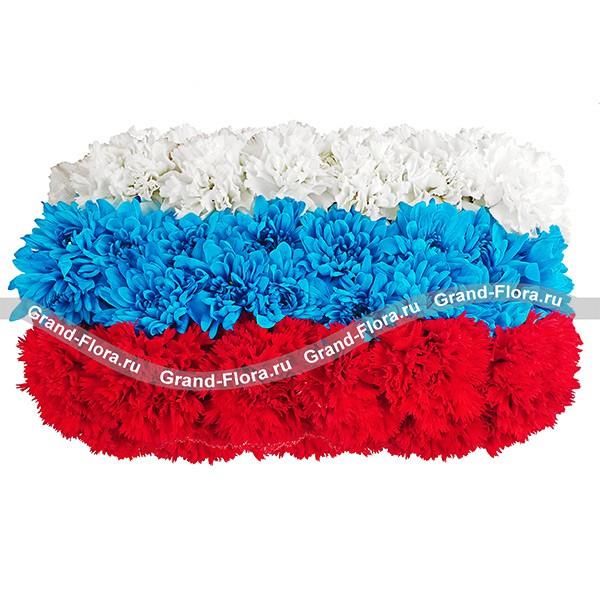 Композиция из белых, синих и красных хризантем