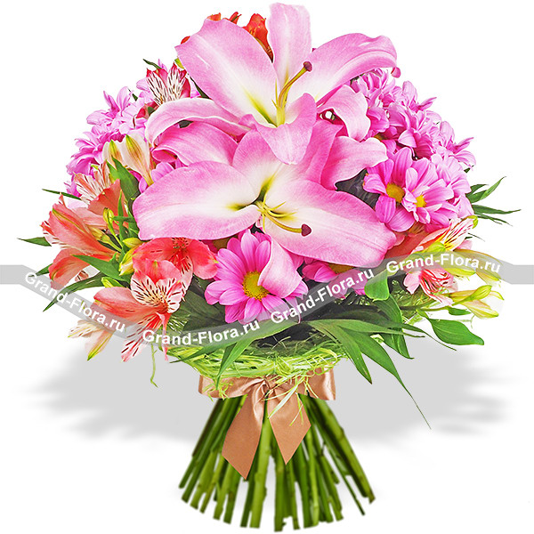 Чарующее лето - букет из лилии и альстромерии