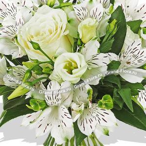 Букет роз с альстромериями (15 штук) - Белые ночи от Grand-Flora.ru
