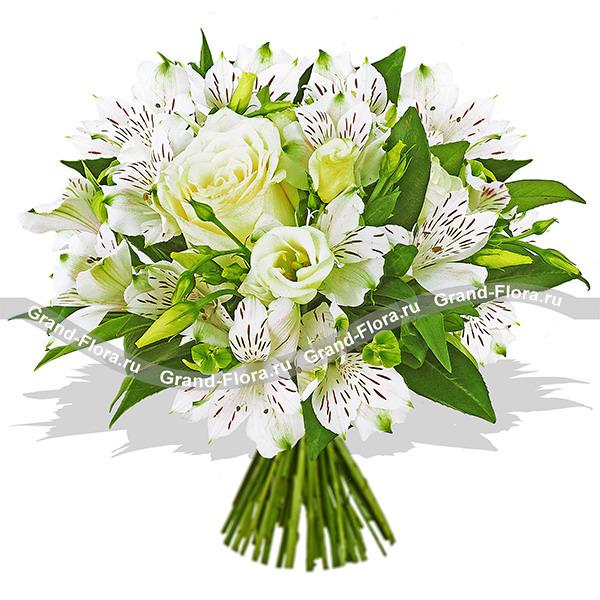 Букет роз с альстромериями (15 штук) - Белые ночи