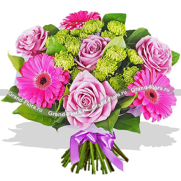 Прекрасной незнакомке - букет из фиолетовых роз и гербер