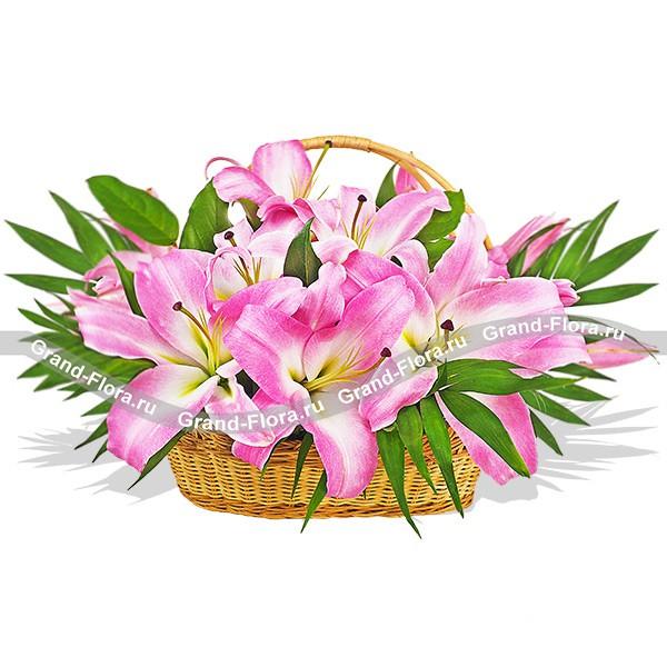 Эффектная цветочная корзина из нежных розовых лилий