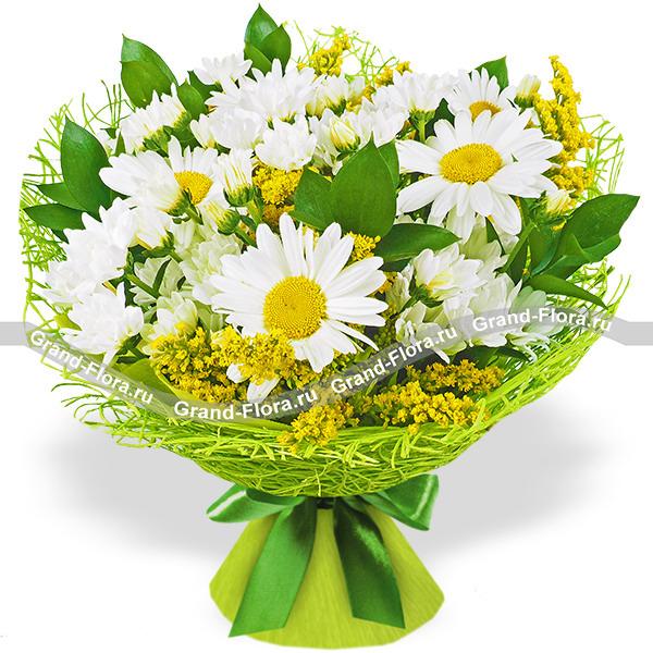 Солнечная роса - букет из ромашки и хризантемы