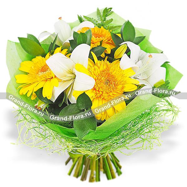 Цветы Гранд Флора Встречая рассвет - букет из лилии и гербер фото