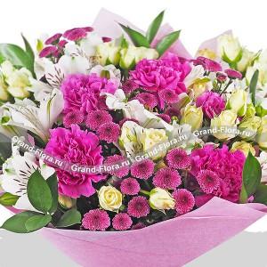 Вальс цветов - букет из кустовой розы, альстромерии и гвоздики...<br>