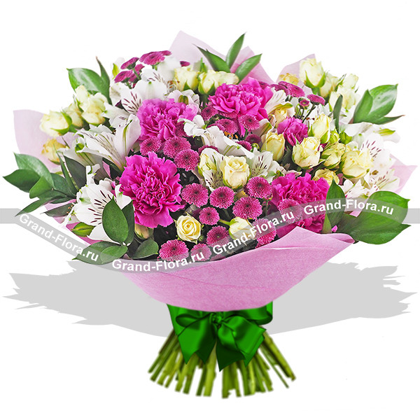 Вальс цветов - букет из кустовой розы, альстромерии и гвоздики