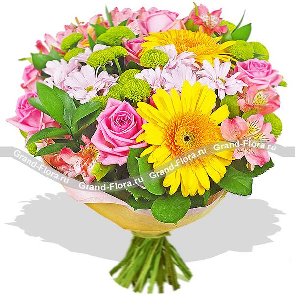 Волшебница снов - букет из роз,хризантем и гербер