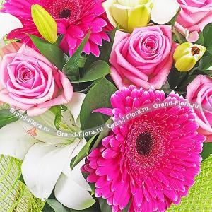 Розовая роза (Аква) и малиновые герберы - Загляденье...<br>