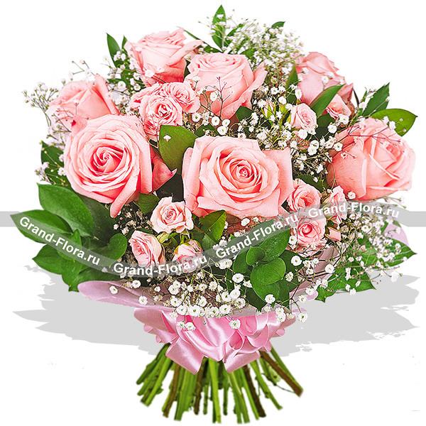 Кустовые розовые розы - Мой Идеал