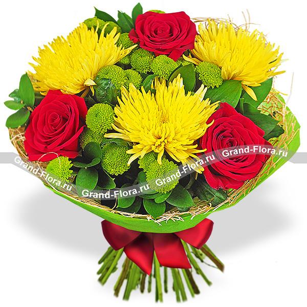 Благородный блеск - букет из красных роз и хризантемы