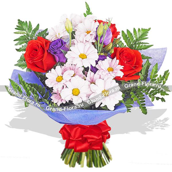 Встреча в саду - букет из роз,хризантем и эустом