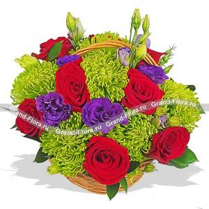 Малифисента - корзина из роз,хризантем эустом...<br>