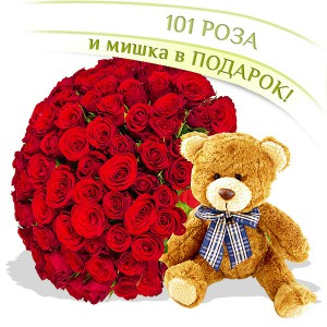 101 роза + Мишка в подарок